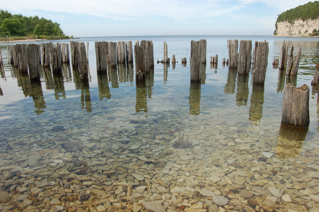 Old dock pilings add to the scenic shoreline