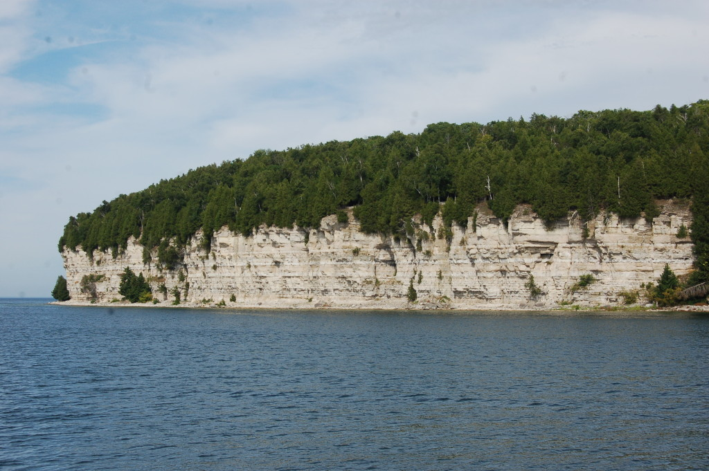 A closer view of the limestone cliff