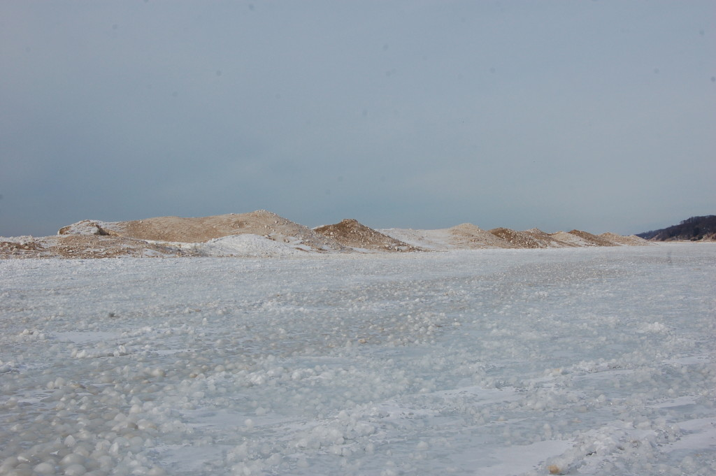 Frozen snow dunes