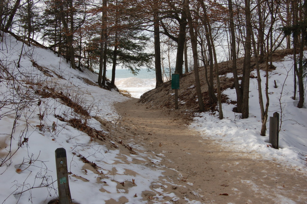 The hiking path reaches the lake