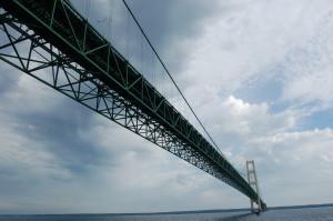mighty Mackinac Bridge underneath