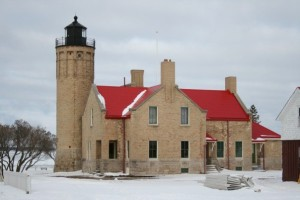 Mackinaw Lighthouse Snow