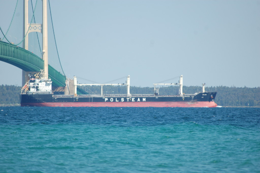 Solina (Polish Steamship Co., Poland) passes under Mackinac Bridge