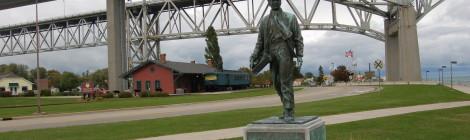 Michigan Roadside Attractions: Thomas Edison Statue at Grand Trunk Railroad Depot in Port Huron