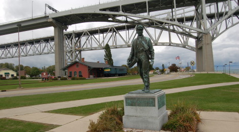 Michigan Roadside Attractions: Thomas Edison Statue at Grand Trunk Railroad Depot in Port Huron