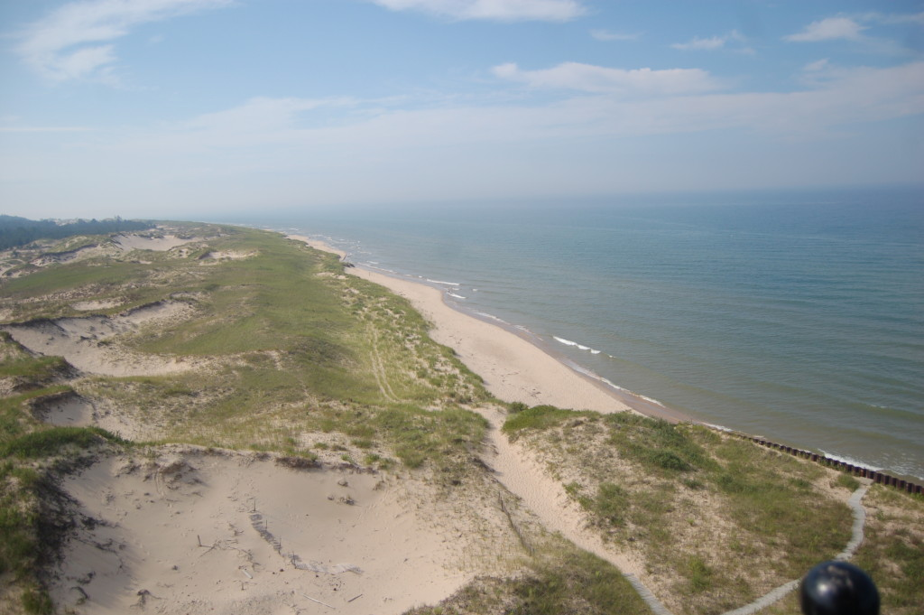 View of Lake Michigan shoreline from Big Sable Lighthouse tower