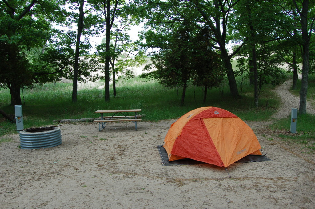 A campsite in Pines campground, a short walk from the beach