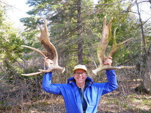Loreen on Isle Royale With Moose Antlers