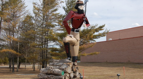 Michigan Roadside Attractions: Paul Bunyan Made From Car Parts - Alpena