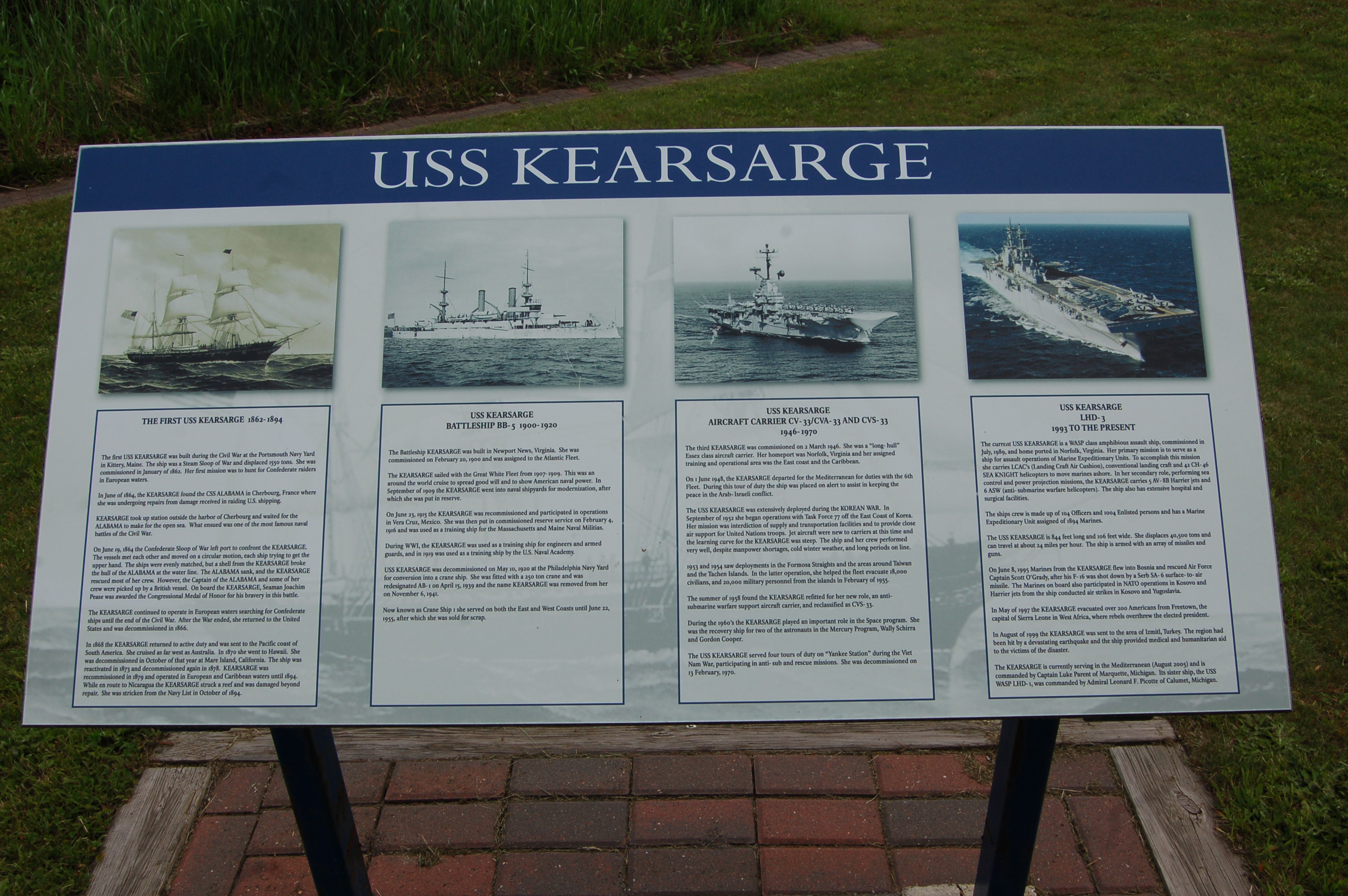 Plague used to show the different vessels throughout naval history that have represented the name Kearsarge.