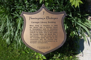 Hemingway Historic Marker Michigan Carnegie Library