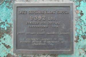 Plaque on Float Copper Calumet Hecla Mine