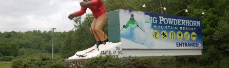 "Michigan Roadside Attractions: Big Powderhorn Mountain Resort ""Ski Bum"" on US-2 Near Bessemer"