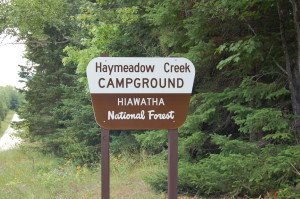 Haymeadow Falls Campground Sign MI