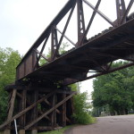 Michigan Roadside Attractions: 1st Avenue Railroad Overpass and Gogebic Range Iron Ore Discovery Site in Bessemer