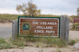 Holland State Park Sign Lake Michigan