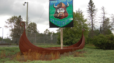 Michigan Roadside Attractions: Viking Ship Welcome Sign in Norway