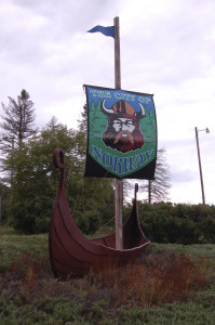 Norway Michigan Viking Ship Vertical Roadside