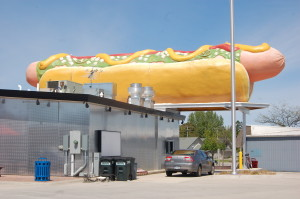 World's Largest Hot Dog Statue Wienerlicious Mackinaw City