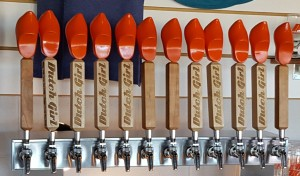 The wooden shoes on the tap handles are hand crafted in the Netherlands