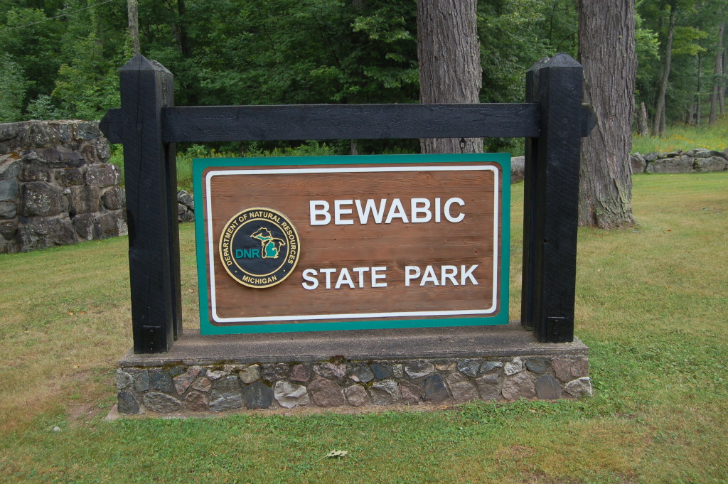 Bewabic State Park Entrance Sign