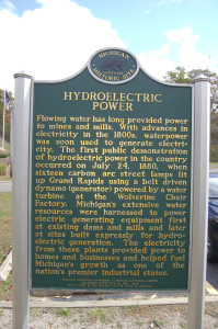 Hydroelectric Power Michigan Historical Marker