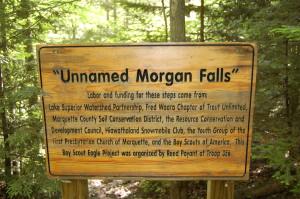 Unnamed Falls on Morgan Creek Sign