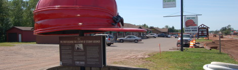 Michigan Roadside Attractions: Giant Stormy Kromer Hat in Ironwood