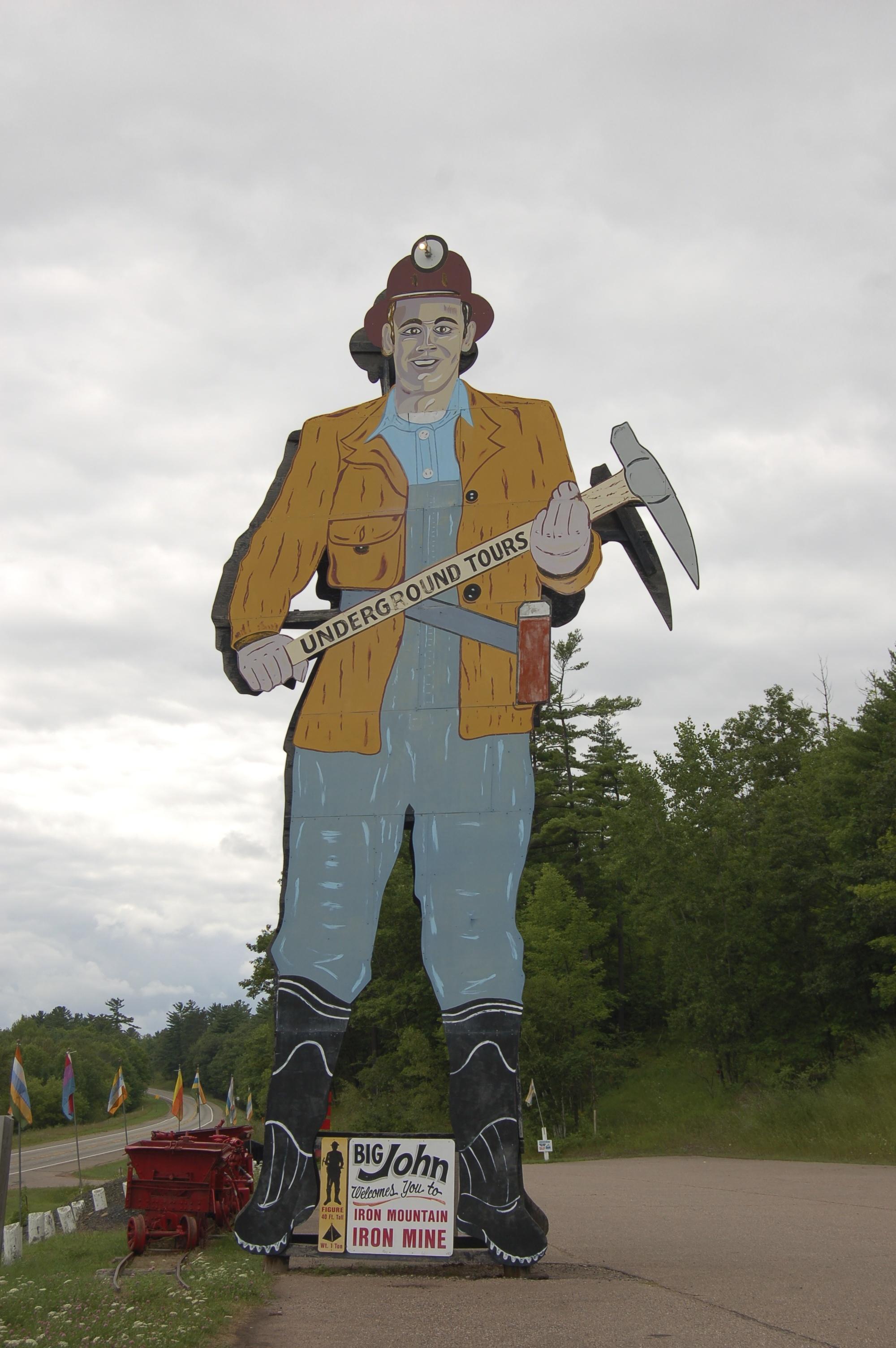 big john miner sign iron mountain iron mine