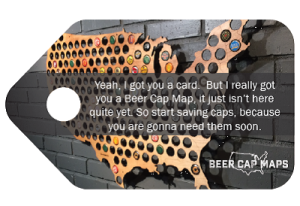 Beer Cap Map Gift Tag