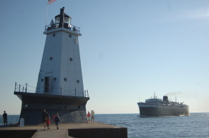 Ludington Pierhead Light SS Badger Lake Michigan