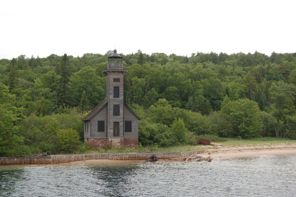 Grand Island East Channel Lighthouse, seen from Glass Bottom Shipwreck Tours
