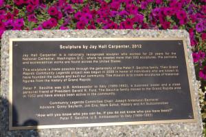Jay Hall Carpenter Statue Plaque Grand Rapids