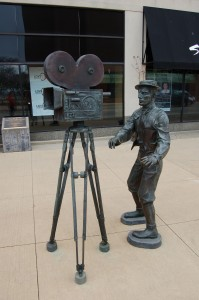 Buster Keaton Statue Vertical Muskegon Michigan