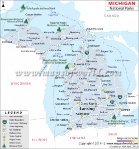 Map of Michigan National Parks (mapsofworld.com)
