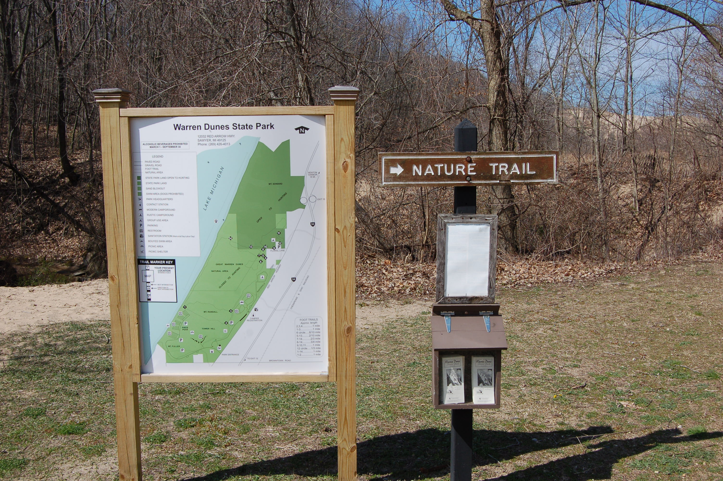 Warren Dunes State Park Trail Sign