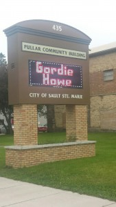 A tribute to Howe at Pullar Stadium in Sault Ste. Marie, where the Red Wings once held camp.