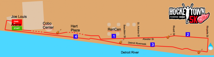 Hockeytown 5K Course Map