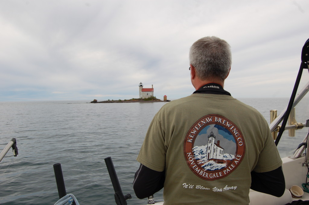 Dad's Keweenaw Breing Company shirt at Gull Rock Lighthouse