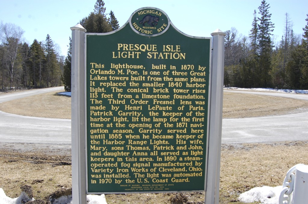 Presque Isle Light Station Historical Marker