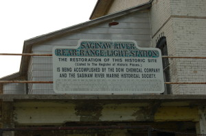 Saginaw River Range Restoration Sign