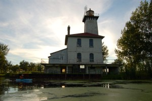 Saginaw River Rear Range Lighthouse Dusk Michigan