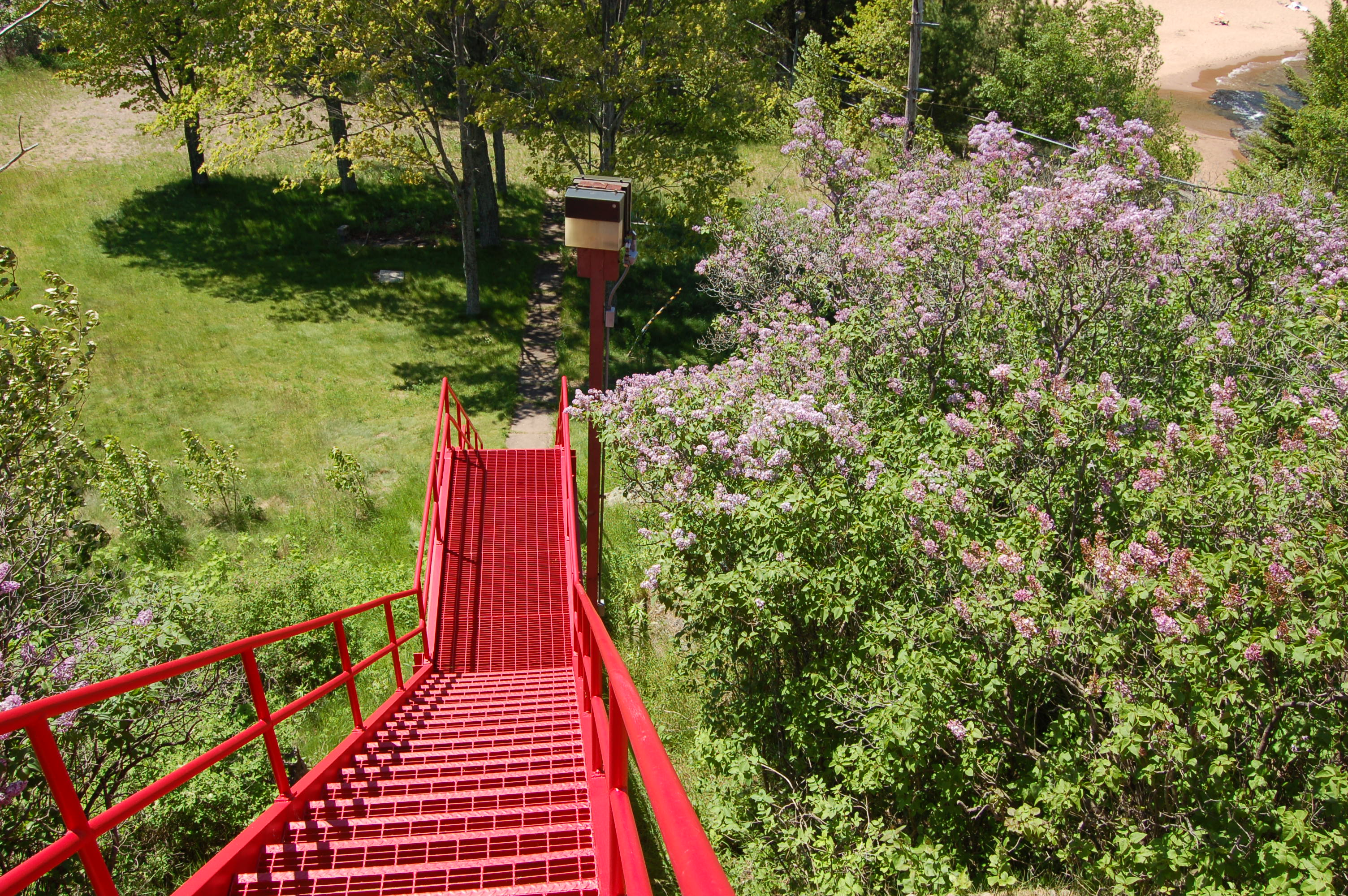 Marquette Harbor Lighthouse Red Stairs