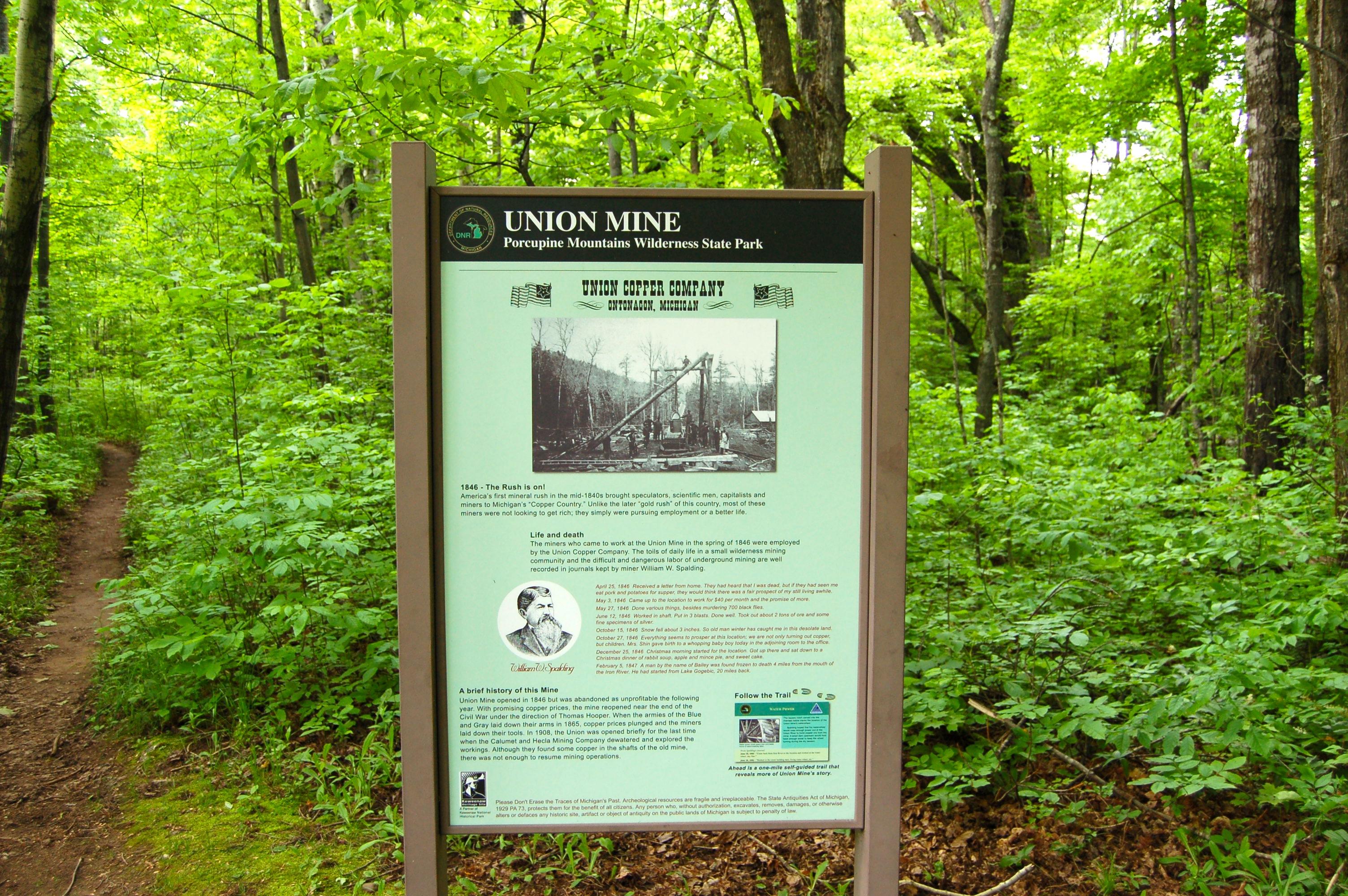 Union Mine Trail Hiking Sign Porcupine Mountains