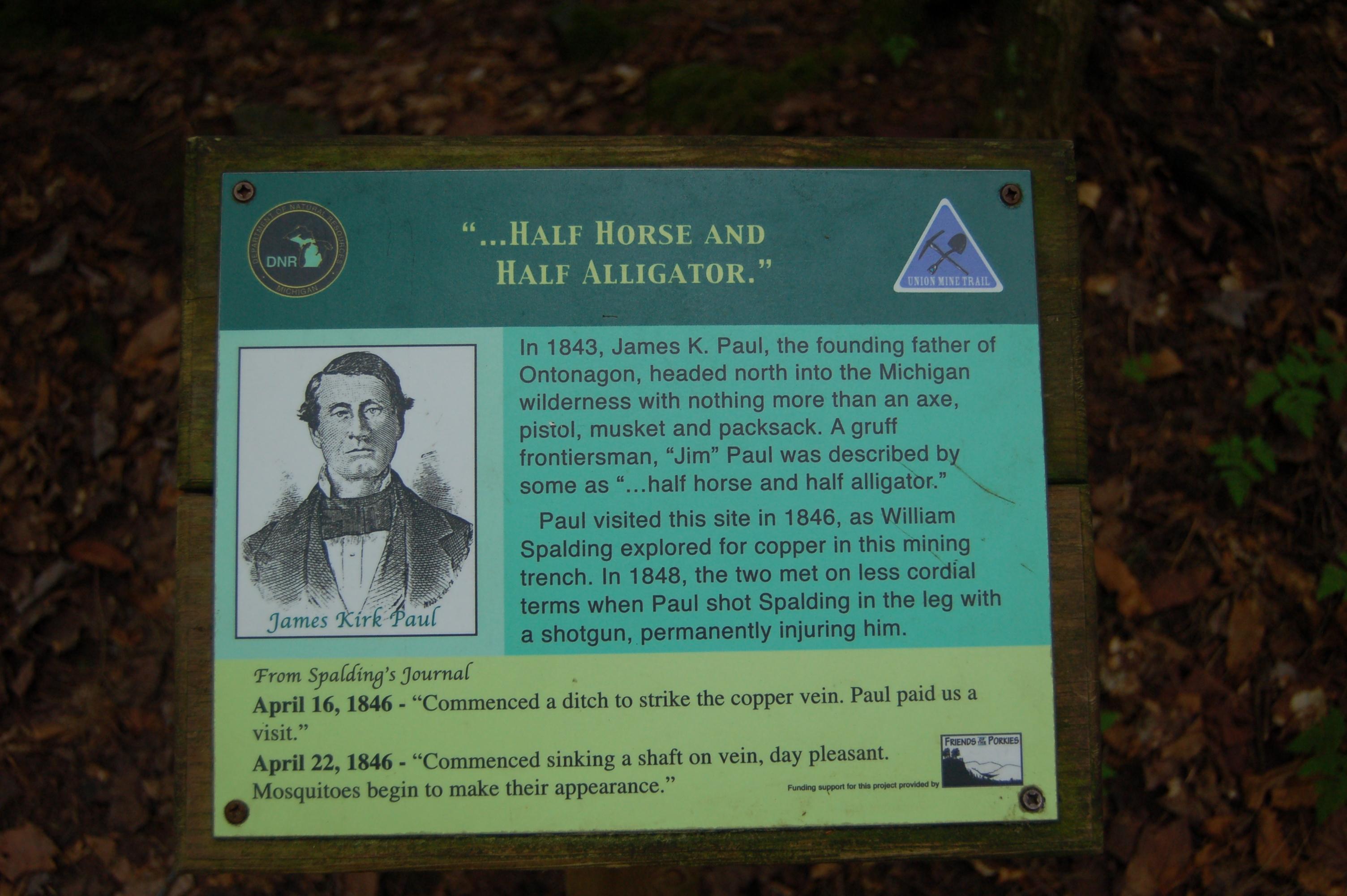 Union Mine Trail James Paul Sign Porcupine Mountains