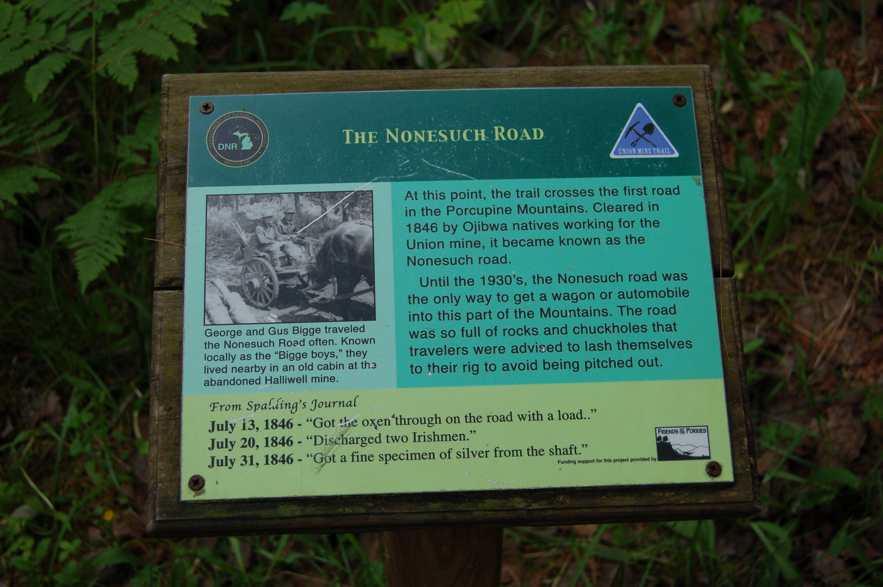 Union Mine Trail Nonesuch Road Sign Porkies MI