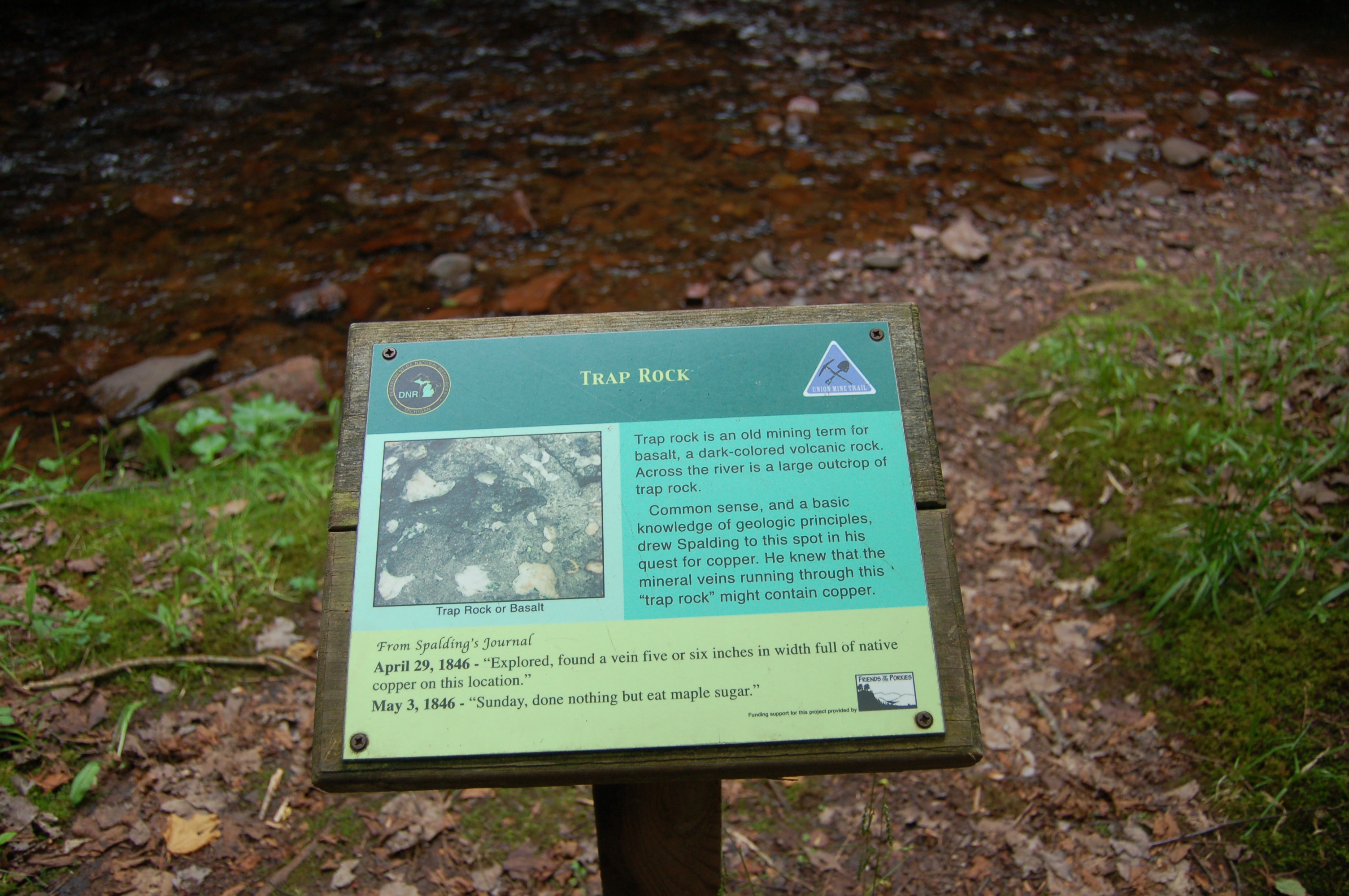 Union Mine Trail Trap Rock Sign