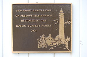 Presque Isle Front Range Light Dedication Plaque