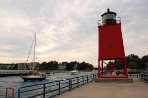 Charlevoix South Pier Light Sailboat