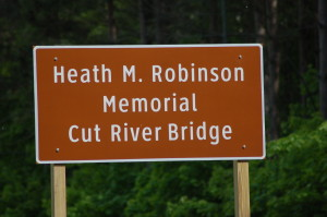 Cut River Heath Robinson Memorial Sign US-2